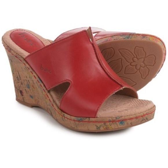 3eedc6db8782 b.o.c. BORN Shoes - b.o.c. BORN Red Leather   Cork Wedges